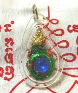 Pendant  Naga Peg Bead Blue Snake Dragon Thai Amulet Fetish LP Talisman Yant
