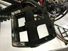 Wide Bike Pedals MTB Road BMX Black Cycling Flat Cage Platform -9/16''