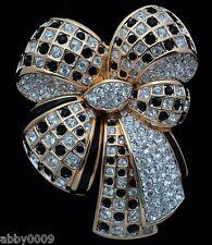 Signed Swan Swarovski Black & Clear Crystal Bow Brooch Pin