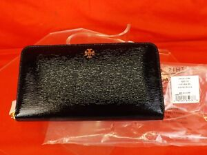NWT TORY BURCH ROBINSON BLACK TEXTURED PATENT LEATHER ZIP CONTINENTAL WALLET