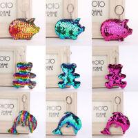 Bag Accessories Handbag Pendant Holder Glitter Sequins Keychain Pig Key Ring
