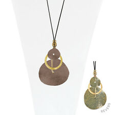 Leather Cord 28 Inch Necklace With Brown Metal Disc And Ring Pendant