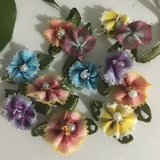 12pcs Small Ribbon Flowers W/Bead Sewing Appliques Craft Wedding Decor #219