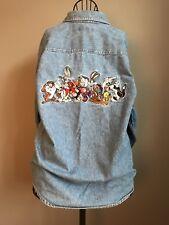 VINTAGE WARNER BROS STUDIO STORE 1995 LOONEY TOONS DENIM Button Up Shirt Size S