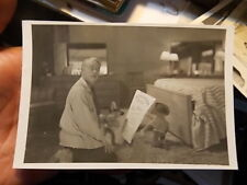 "VINT SNAPSHOT PHOTO, MAN WITH COWBOY DOLLS IN BEDROOM  ""BONANZA BOYS"""