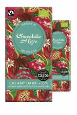 Creamy Dark 55% - Creamy Dark Chocolate With Cacao Nibs 80g bar (Pack of 14)
