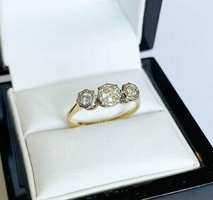 Antique Art Deco Vintage 18ct Gold & Platinum - 0.45 Carat Diamond Trilogy Ring