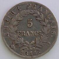 FRANCE 5 FRANCS NAPOLEON EMPEREUR 1811 Q TB/TTB