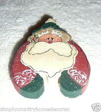 SANTA PIN~Jewelry~Christmas Country Decor~Handpainted~Wood~NEW