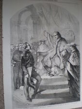 Pope addressing General Goyon of France at Rome 1860 old print