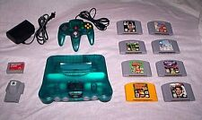 Ice Blue N64 System lot Nintendo 64 Console, 8 Classic Games and Expansion Pak
