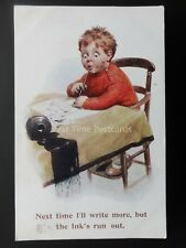 Spilt Ink Comic Postcard LITTLE BOY - I'LL WRITE MORE BUT THE INKS RUN OUT c1923
