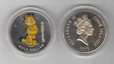 COOK ISLANDS - PROOF UNC HALF 1/2 $ COIN 1999 YEAR KM#338 COLORED CAT GARFIELD