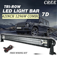 "42"" CREE 1296W Tri-Row LED LIGHT BAR OFFROAD TURCK SUV ATV 4WD Mini PICKUP 40"""