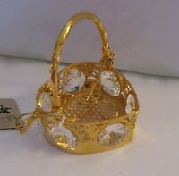 Figurine/Ornament  Heart Shape Baslet -Austrian Crystals  gold plated clear