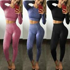 Womens Seamless Yoga Set Sport Fitness Suits Gym Clothing Crop Top Workout Pants
