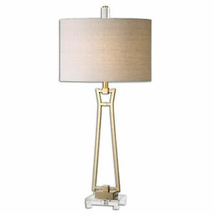 Uttermost-Leonidas 26144 Light Table Lamp Plated Brushed Gold New FREE FAST SHIP