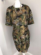 Next Ladies Tailoring Dress Size 14 BNWT Fern Leaf Print Green Gold Wedding Work