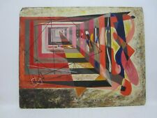 LEE HAGER Vintage Painting Abstract Dimensional Geometric Thick Paint MOD