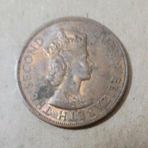 Eastern Caribbean States 2 cent Bronze coin, 1965, KM# 3, tarnish spots on rev
