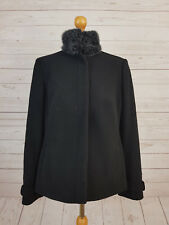 Princples Women's Black Buttoned Coat Jacket With Faux Fur Neck Size 16