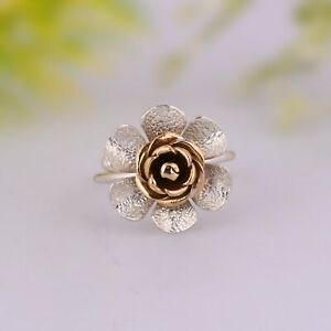 Flower Design Gold And Silver Ring Without Gemstone Flower Stackable Ring