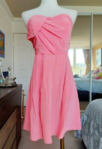 ZIMMERMANN strapless pink dress silk draped pleats sheer lined zip size 1 10