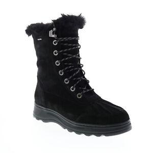 Geox Hosmos B Abx D94AUB00022C9999 Womens Black Suede Casual Dress Boots