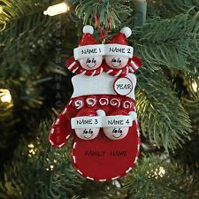 BABY MITTEN FACES FAMILY OF 4 PERSONALIZED CHRISTMAS THEE ORNAMENT RUDOLPH&ME