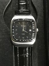 STAUER Classic Aero Analog Quartz Black Face Men's Watch Leather