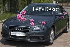 wedding car decoration, ribbon, bows, prom limo decoration ,greta dark pink