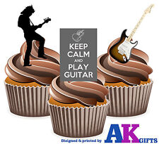 PRECUT Keep Calm Guitar Silhouette 12 Edible Cupcake Toppers Decoration Birthday