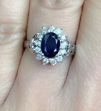 14K Solid White Gold Cluster Diamond Ring With Natural Sapphire, Sz7.5