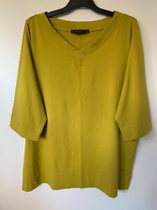MAGGIE T 3/4 SLEEVE V-NECK OLIVE GREEN T-SHIRT TOP SIZE 3 20 AU