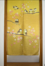 JAPANESE Noren Curtain GOLD OWL BIRD SAKURA CHREE