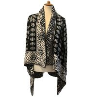 Elodie Open Front Drape Cardigan Sweater Size Large MOHAIR Blend Fair Isle EUC