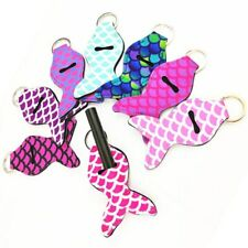 8pcs Neoprene Chapstick Cover Holder Sleeve Keychain Key Ring Chain Women Gifts