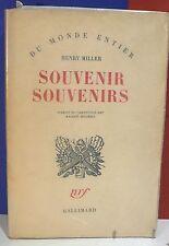 Henri Miller. Souvenir souvenirs, nrf - World FREE Shipping*