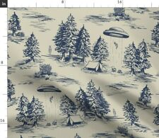 New listing Large Scale Toile De Pattern Blue Funny Space Spoonflower Fabric by the Yard