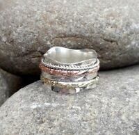 Solid 925 Sterling Silver Spinner Ring Meditation Ring Statement Ring Size srR27