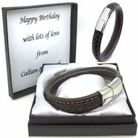 Mens Leather Bracelet Engraved Personalised Valentines Gifts Husband Boyfriend
