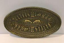 "Vintage Amazing Oval Greek Designed Green Art Glass 11-5/8"" Platter Greece"