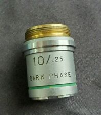 AO Dark Phase Contrast Microscope Objective Cat 1211 Plan Achro 10X With Case