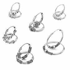 Amberta Fine 925 Sterling Silver Bohemian Hoops Sleeper Bali Tribal Earrings