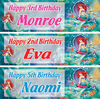 2 x personalised birthday banner little mermaid girl kids nursery party any name