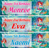 2 x personalised birthday banner little mermaid girl kids nursery party any name