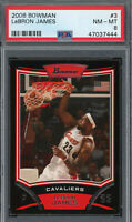 LeBron James Cleveland Cavaliers 2008 Topps Bowman Basketball Card #3 PSA 8