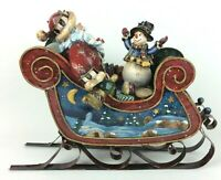 Vtg Christmas Sleigh Santa & Snowman Animated Wind Up Musical Here Comes Santa