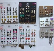 Lot Of 105 Pairs Studs Hoops And Dangle Earrings Hypo Allergenic New B