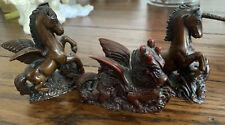Vintage Aldon Lot Carved Mythical Creatures Dragon Pegasus Unicorn